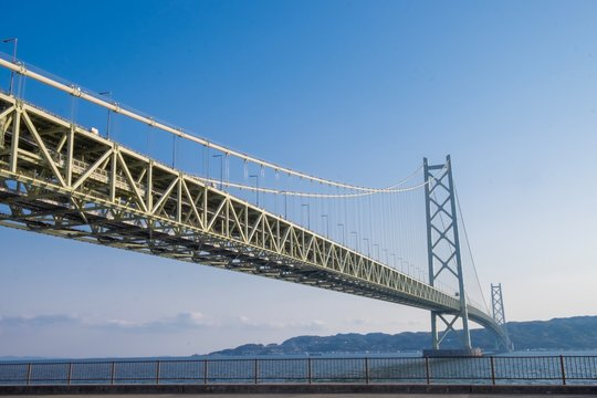 Akashi Kaikyo bridge at Kobe port, The longest bridge in Japan