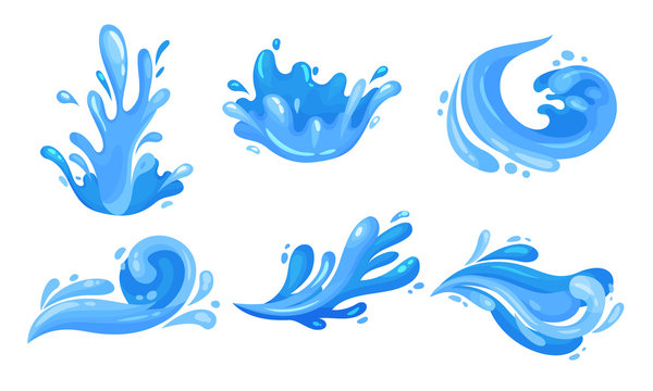 Water Splashes Vector Illustrated Set. Motion of Aqua Concept