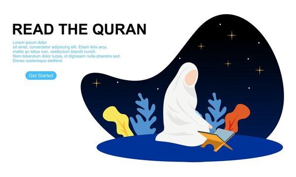 Muslim reading the quran islamic holy book. Illustration logo