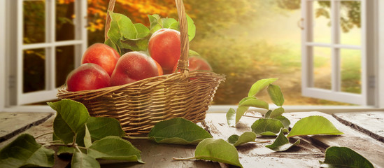 Peaches and nectarines in a wicker basket on a wooden table fruit harvest in a rustic style with a copy space
