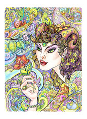 Drawing Aries beautiful woman with flower, patterns