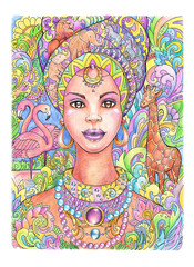 Drawing beautiful african woman in turban with beads and animals