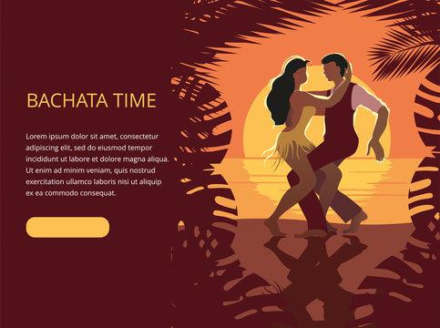 Beautiful couple dancing on the beach Latin salsa bachata dance. Banner or invitation template.