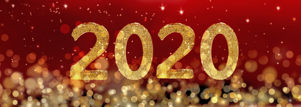 2020 new year golden figures on blur lights and red background