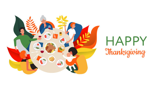 Happy Thanksgiving quote. Thanksgiving or Christmas dinner with extended family. Family celebrating Thanksgiving day with turkey on the table. Flat cartoon style design vector illustration.