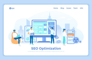 Search engine optimization, SEO analysis, marketing strategy for website and mobile website. Seo analytics team. landing web page design template decorated with people characters. Wall mural
