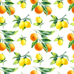 A seamless lemon and orange pattern on white background.