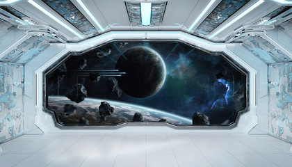 Wall Mural - White blue spaceship futuristic interior with window view on space and planets 3d rendering