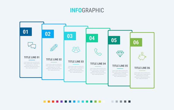 Timeline infographic design vector. 6 options, rectangular workflow layout. Vector infographic timeline template. Cold palette.