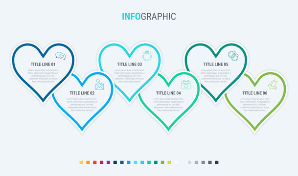 Vector infographics timeline design template with hearts elements. Content, schedule, timeline, valentines day, mothers day, flowchart. 6 steps infographic. Cold palette.