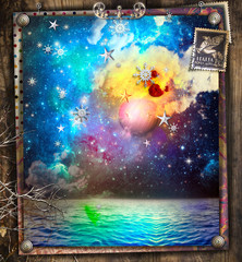Poster Imagination Fairytales amd enchanted starry night over the sea with snowflakes and a full moon