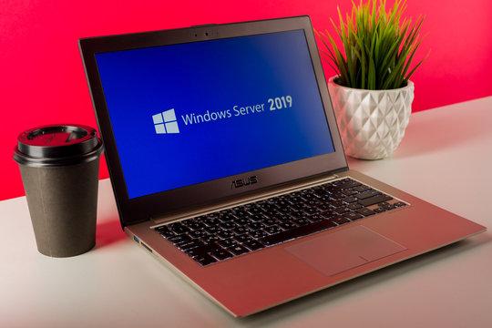 Tula, Russia - AUGUST 18, 2019: Microsoft Windows Server 2019 displayed on a modern laptop