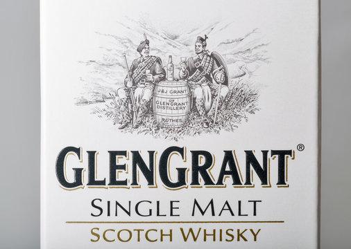 Glen Grant Speyside Single Malt Scotch Whisky box closeup in Kyiv, Ukraine.