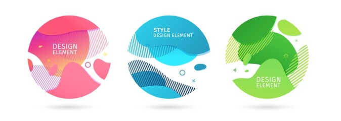 Set of abstract trendy graphic circle elements. Dynamical bright color around forms and line background. Gradient abstract banner with flowing liquid shapes. Template for flyer, cover design. Vector