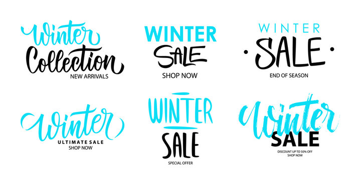 Winter Sale promotional set. Winter season special offer commercial signs with hand lettering for business, seasonal shopping, sale promotion and advertising. Vector illustration.