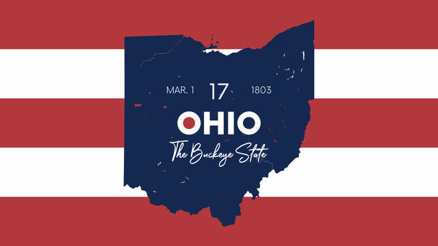 17 of 50 states of the United States with a name, nickname, and date admitted to the Union, Detailed Vector Ohio Map for printing posters, postcards and t-shirts