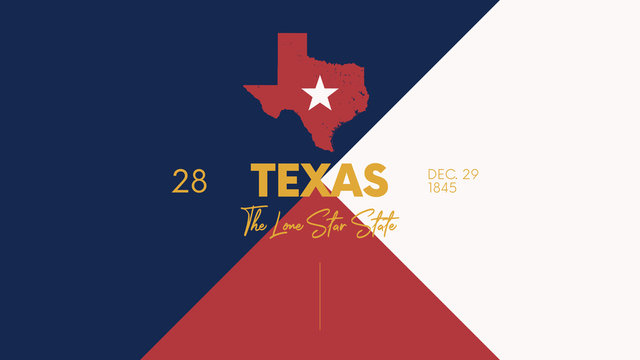 28 of 50 states of the United States with a name, nickname, and date admitted to the Union, Detailed Vector Texas Map for printing posters, postcards and t-shirts