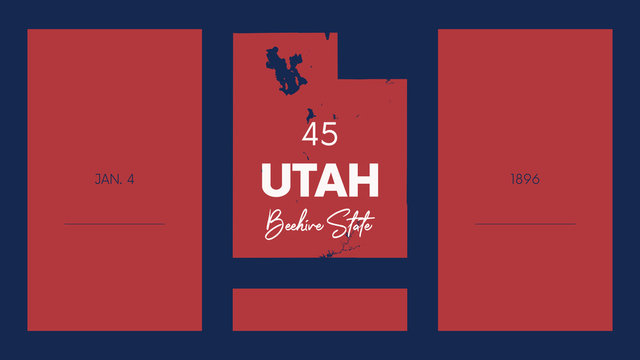 45 of 50 states of the United States with a name, nickname, and date admitted to the Union, Detailed Vector Utah Map for printing posters, postcards and t-shirt