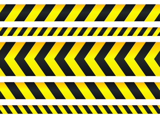Seamless security yellow black diagonal stripes. Safety danger signs.Warn Caution symbol. Isolated on white background.
