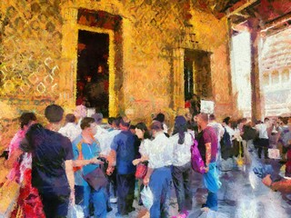 Phra Kaew Temple and the Grand Palace, Bangkok Illustrations creates an impressionist style of painting.