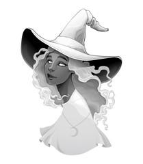 Fotorolgordijn Kinderkamer Portrait of a witch in gradients of gray