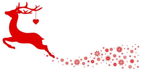 Wall Mural - Rotes Fliegendes Rentier Mit Herz Schweif Schneeflocken