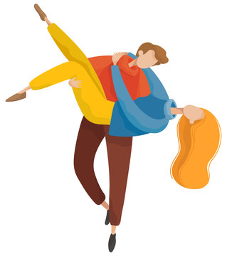 Happy man and woman walking in autumn park. Romantic day of embracing male and female in casual clothes. Lovers characters hugging outdoor. People meeting and dancing, relationship element vector