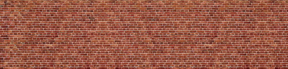Poster Brick wall Old red brick wall background, wide panorama of masonry