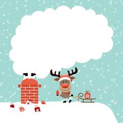 Wall Mural - Weihnachtsmann im Schornstein Und Rentier Mit Schlitten Dach Schnee Türkis