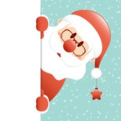 Wall Mural - Weihnachtsmann Mit Stern Banner Rechts Schnee Türkis