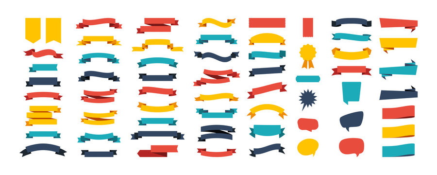 Colorful Vector Ribbon Banners. Set of Ribbons Banners with Label, Tag and Quality Badges. Banners set and colorful Ribbon, isolated on white background. Ribbon Banner in modern simple flat design