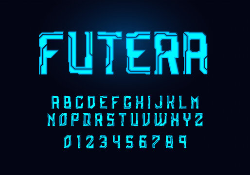 Tech hologram alphabet font in sci fi style. Typography modern space cyber font set for logo, poster, games, interface and movie. Vector Illustration. EPS 10