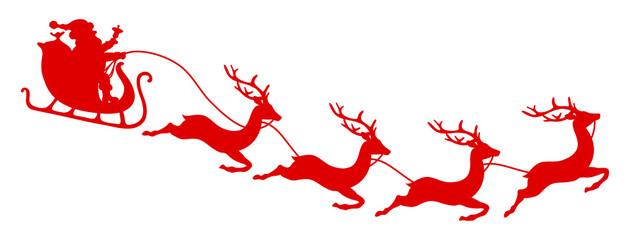 Wall Mural - Nach Rechts Fliegender Gebogener Weihnachtsschlitten Rot