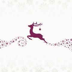 Wall Mural - Fliegendes Rentier Mit Stern Schneeflocken Beige Violett