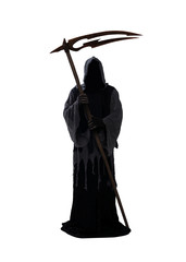 Silhouette of a grim reaper isolated on white background