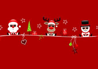 Wall Mural - Karte Weihnachtsmann Rentier Und Schneemann Icons Rot
