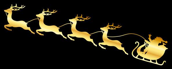 Wall Mural - Goldener Weihnachtsschlitten Vier Rentiere Schwarz