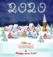 Photo sur Plexiglas A house in a snowy Christmas landscape at night. 2020 with sparklers. concept for greeting or postal card