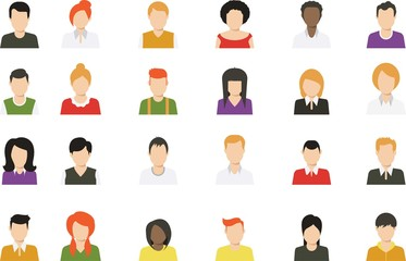 Social media avatar vector graphics flat icons.Set of hand drawn Avatar profile icon (or portrait icon), including male and female . User flat avatar icon, sign, profile people symbol