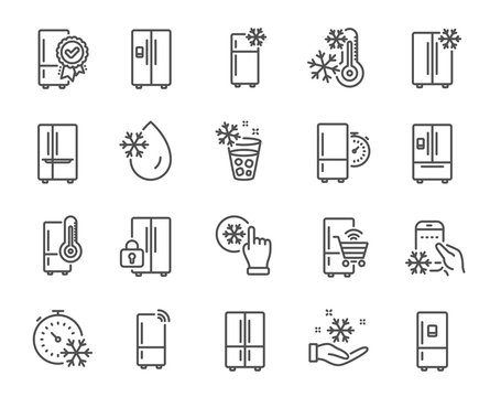Fridge line icons. Refrigerator, freezer storage, smart fridge machine. Water with ice, cooler box, thermometer icons. Wi-fi remote access, thermostat timer, smart freezer. Vector