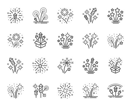 Firework salute line icons. Carnival celebration, christmas explosive pyrotechnic and festival lights. New year firework set icons. Flash rocket, pyrotechnic effects, christmas salute. Vector