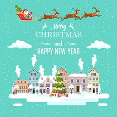 Wall Murals Green coral happy new year and merry Christmas winter old town street Santa Claus with deers in sky above the city. concept for greeting and postal card, invitation, template. Vector illustration in flat style