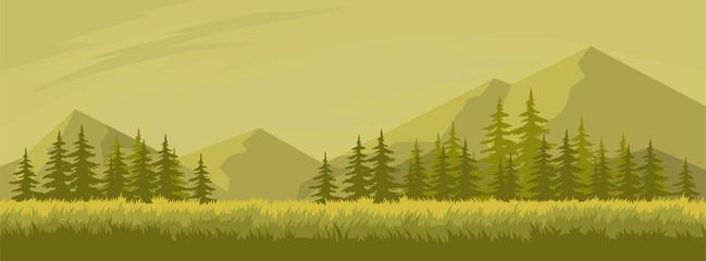 Printed kitchen splashbacks Beige Autumn landscape with fir trees