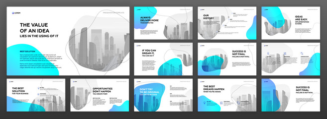 Business presentation templates set. Use for modern presentation background, brochure design, website slider, landing page, annual report, company profile.