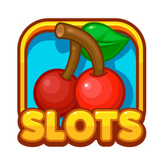 Slot game illustration. Casino game icon design. Vector illustration.