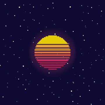 Vector retro futuristic background. Si-fi. Abstract digital landscape with particles dots and stars on horizon. Pixel art background. 8 bit.
