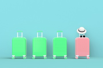 Modern pink and green suitcases bag with sun glasses and hat on blue background. Travel concept. Vacation trip. Copy space. Minimal style. 3D rendering illustration