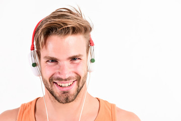 Tuinposter Muziekwinkel Enjoy perfect music sound headphones. Sale discount. Music fan concept. Man guy listening music headphones white background. Modern technology. Buy music gadget. Shop store musical accessory gadgets