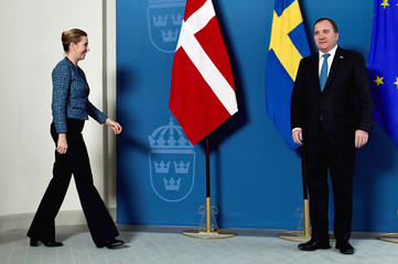 Denmark's Prime Minister Mette Frederiksen and Sweden's Prime Minister Stefan Lofven attend a photo opportunity at Rosenbad in Stockholm