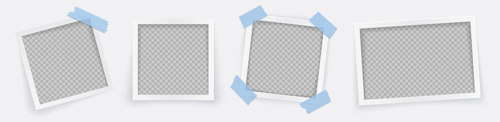 Photo frame set with blank place with blue sticker. Rotated photo frame concept, single isolated vintage object with adhesive tape. Vector detailed illustration of edge for images and pictures.